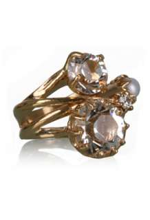 Crystal & Pearl Multi Band Gold Ring by Iosselliani   Gold   Buy