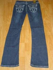 juniors CLASH jeans FLEUR DE LIS crystal 30 THICK WHITE STITCH 9 ~like