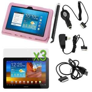 Pink Folio Leather Protector Cover Case with Stand + 3 X LCD Screen