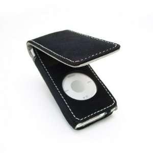Black Micro suede Flip Case for Apple iPod Nano 2GB 4GB 8GB