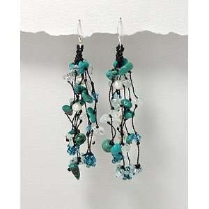 1~NEW Pure Silver Turquoise Swarovski Crystal Earring