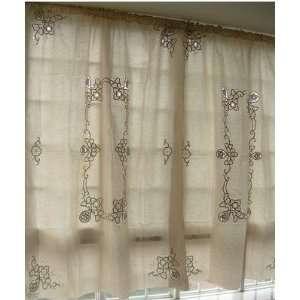 Vintage Battenburg/Cutwork off White Cotton Curtain Panel