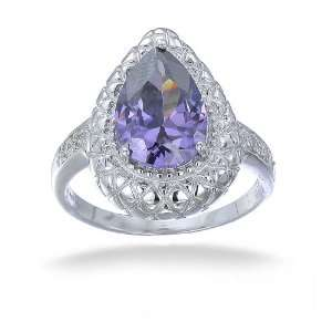 4CT Purple Pear & White CZ Fashion Ring Antique Look In Sterling