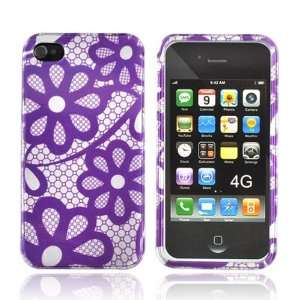 For Apple iPhone 4 Hard Case Cover PURPLE SILVER FLOWER Cell