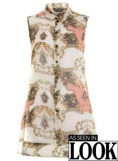 Chain Print Cowl Back Shirt   Tops   Apparel   Miss Selfridge US