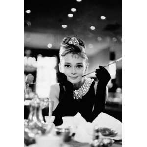 Audrey Hepburn   Breakfast BW by Unknown 40x55