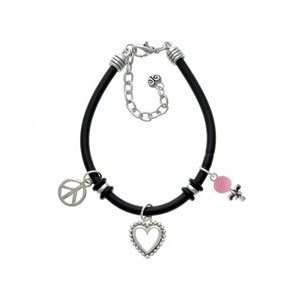 Pink Baby Rattle Black Peace Love Charm Bracelet Arts