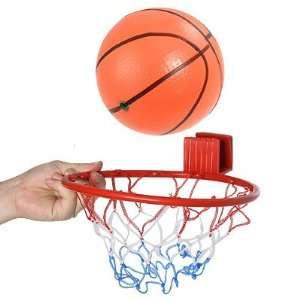 Childen Toy Orange Rubber Basketball w Braided Nylon Hoop Net Baby