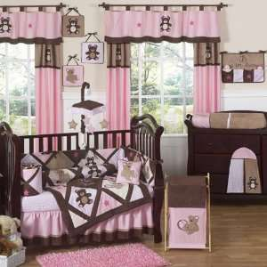 Teddy Bear Pink 9 PC Crib Bedding Set