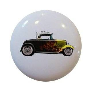 Hot Rod Car Red Cabinet Drawer Pull Knob