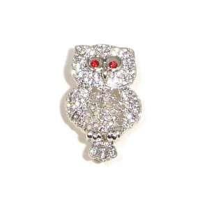 and Red Austrian Rhinestone Owl Bird Silver Plated Brooch Pin Jewelry