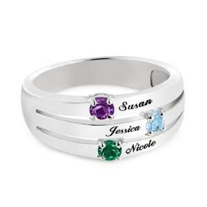 Personalized Sterling Silver Domed 3 Birthstone Ring Gift Jewelry