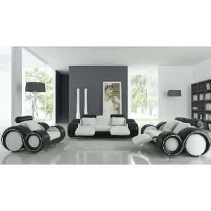 Franco Full Leather Sofa Set   White / Black