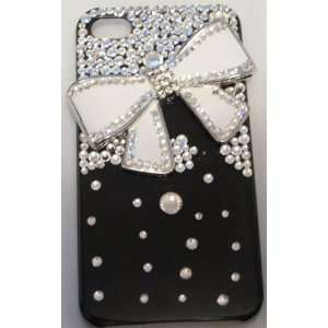 Handmade Crystal 3D White Bow Tie Iphone 4/4s Case + Screen Protector