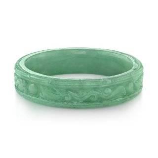 Carved Scroll Green Jade Bangle Bracelet