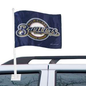 MLB Milwaukee Brewers 11 x 15 Navy Blue Car Flag Sports