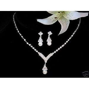 Bridal Wedding Bridesmaid Prom Necklace Earrings Jewelry Set Kitchen