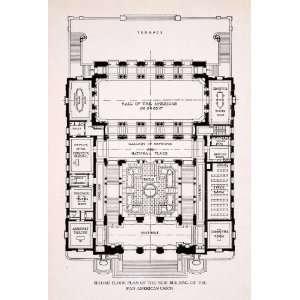 1911 Wood Engraving Second Floor Plan Building