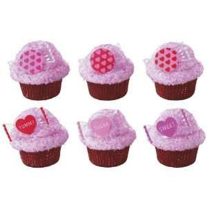 12 Valentines Day Candy Sweets Cupcake Rings Cake Toppers