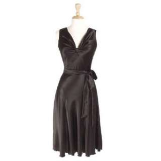 Art Deco Cocktail Party Dress with Waist Sash in Black Clothing