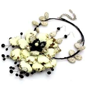 stone flower with crystal beads; Natural color stones with jet crystal