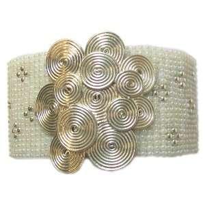 Spiral Flower White Mesh Glass Seed Beaded Cuff Bracelet Jewelry