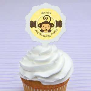 Picks & 24 Personalized Stickers   Birthday Party Cupcake Toppers