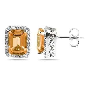 Cut Citrine and Diamond Earrings in 14K White Gold SZUL Jewelry