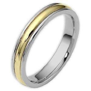 Two Tone 14 Karat Gold Comfort Fit Wedding Band Ring   4 Jewelry