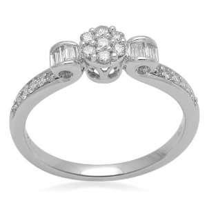 10K White Gold Diamond Centre Flower Bridal Ring (1/3 cttw