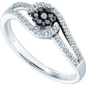Gold Brilliant Cut Diamond Flower Ring Featuring Black Diamond Cluster