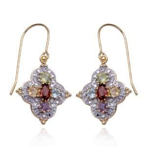 Gold Plated Sterling Silver Multi Gemstone and Diamond Drop Earrings