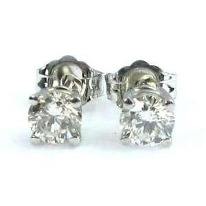 Round Diamond Stud Earrings 14k White Gold ( 0.63 Ct, I