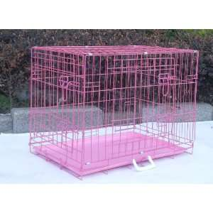 Pink 42 Pet Folding Dog Cat Crate Cage Kennel W/PP Tray LC