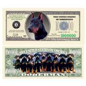 SET OF 100 BILLS DOBERMAN PINSCHER MILLION DOLLAR BILL: Toys & Games