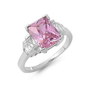Sterling Silver Pink CZ Emerald Cut Engagement Ring Size 5 Jewelry