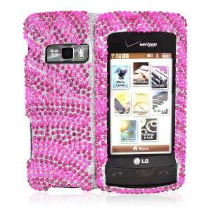 for LG EnV Touch Bling Hard Case Cover HOT PINK ZEBRA