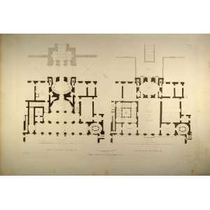 Palace Floor Plan Rome   Original Copper Engraving Home & Kitchen