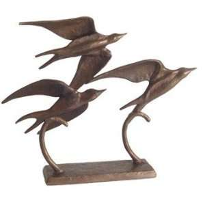 Sculpture bronze family birds 8 inch statue figurine