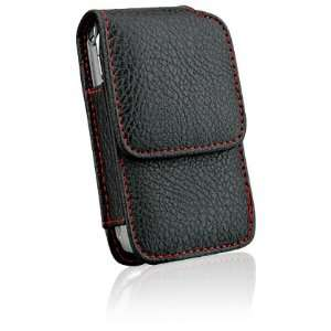 Premium Genuine Leather Vertical Case Pouch Holster w/ Red Trimming