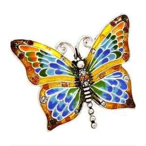 Painted Multi colored Crystal Stud Stretch Butterfly Ring Jewelry