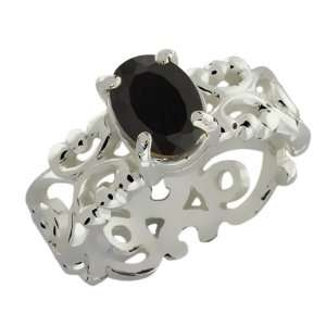1.65 Ct Oval Black Onyx 18k White Gold Ring Jewelry