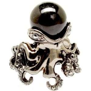 Squid Fashion Ring on Beaded Stretch Band Black/Hematite Tone Jewelry