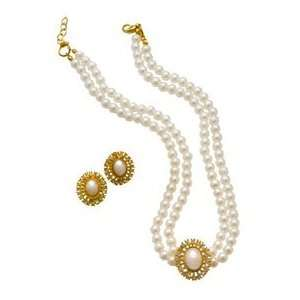 gold pearl necklace & earrings set Toys & Games