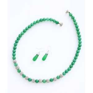 Taiwan Green Jade and Crystal A Grade Bead 18 Necklace Earring Set