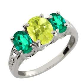 Lemon Quartz and Deep Green Mystic Topaz 14k White Gold Ring Jewelry