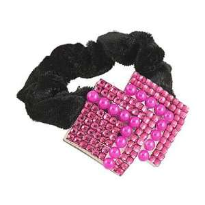 Velvet Red Double Square Rhinestone Faux Pearls Hair Band Beauty