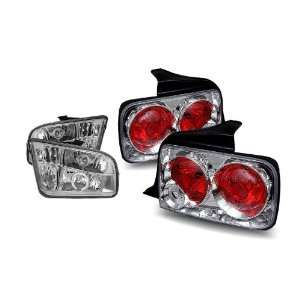 05 09 Ford Mustang Chrome CCFL Halo Projector Headlights + Tail Lights