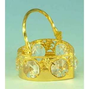 Heart Basket Gold & Crystal Ornament