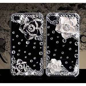 DIY 2 Pieces Black Flowers Bling Bling Cell Phone Deco Kit